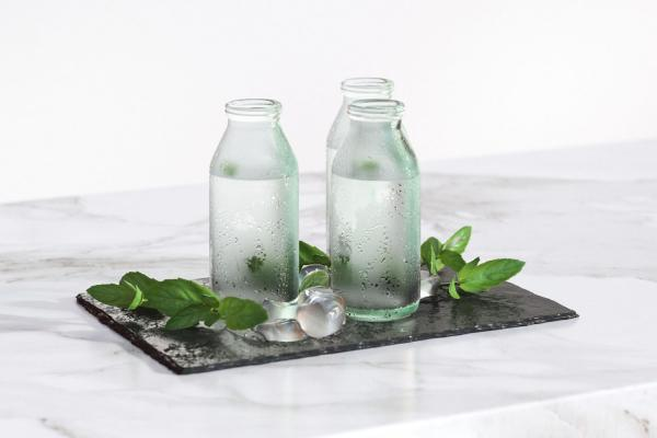 Bottles with mint water