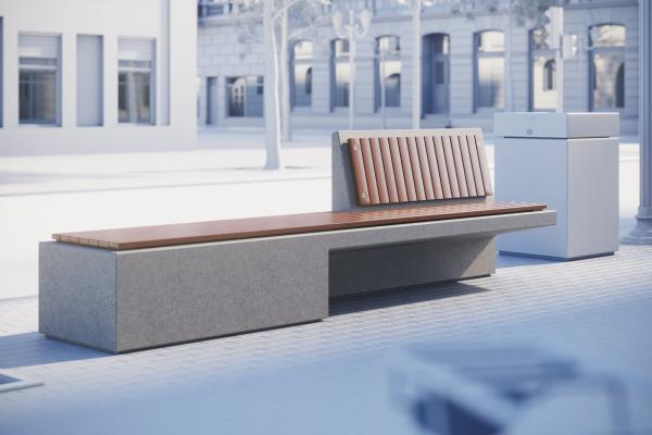 Concrete street bench