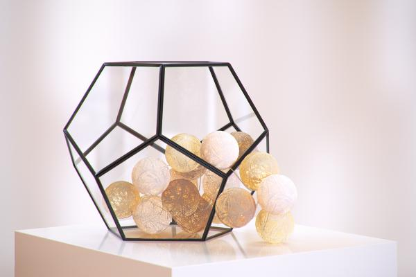 Cotton ball string light in metal frame