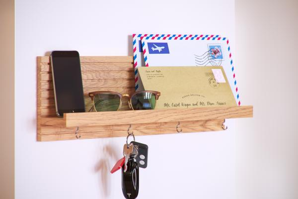 Wooden hanging shelf with hangers