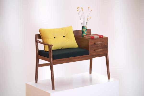 Wooden armchair with drawers
