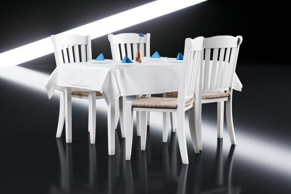 White dining table with chairs